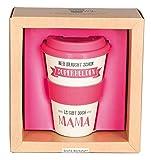 Grafik Werkstatt Deckel | Kaffee-Becher | Coffee 400 ml | -to-go | Superhelden Mama, beige, 9 x 9.5 x 14 cm