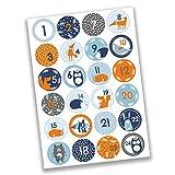 Papierdrachen 24 Adventskalenderzahlen Aufkleber - Waldtiere Nr 32 - Sticker 4 cm - zum Basteln und Dekorieren