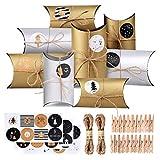CENXINY Adventskalender zum Befüllen 24 STK Adventskalender Schachteln Golden und Silber, Weihnachtskalender Kapazität 12,8 * 9,5 * 4,5cm, 10M...