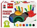 Marabu 0303000000085 - Kids Fingerfarbe Set mit 6 leuchtenden Farben á 35 ml, parabenfrei, vegan, laktosefrei, glutenfrei, geeignet zum Malen in...