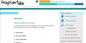 Screenshot 2 kapiert.de: Übersichtsseite unserer gewählten Inhalte der Klassenarbeit.
