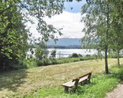 Eine der zahlreichen Bänke entlang des Staffelsees