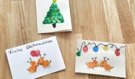 Weihnachtskarten mit Kindern basteln Fingerabdruck