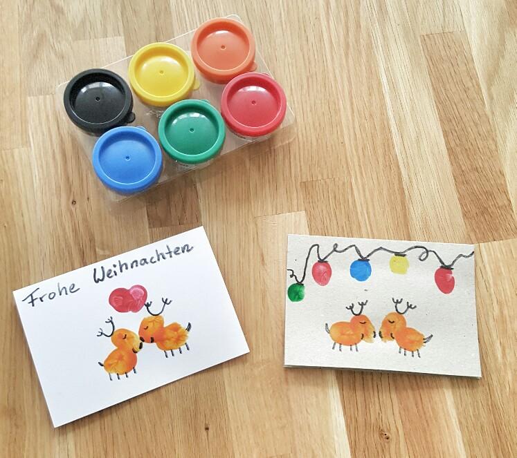 Weihnachtskarten mit Fingerfarben basteln