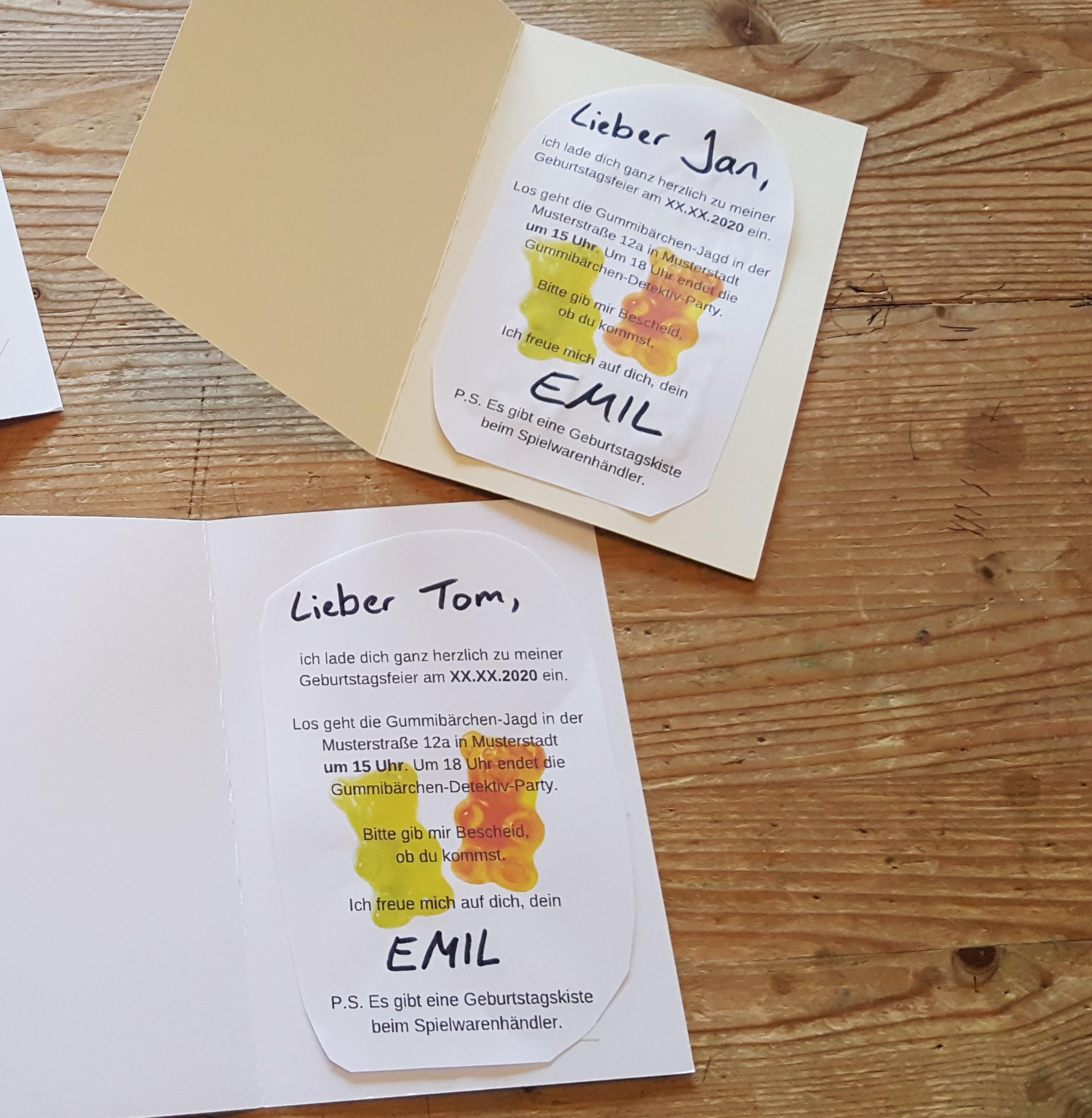 Einladungskarten Gummibärchen-Detektiv-Party