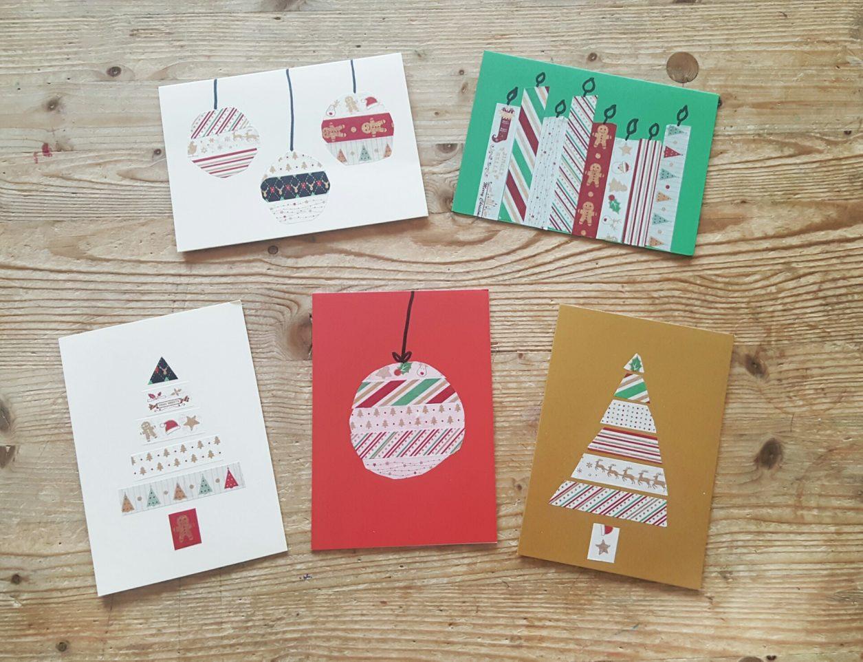 Kinderleichte Weihnachtskarten mit Washi Tape gestalten