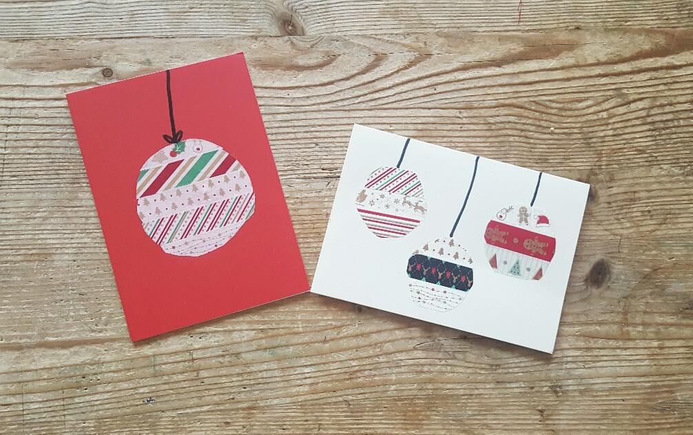 Christbaumkugeln mit Washi Tape als Weihnachtskarte