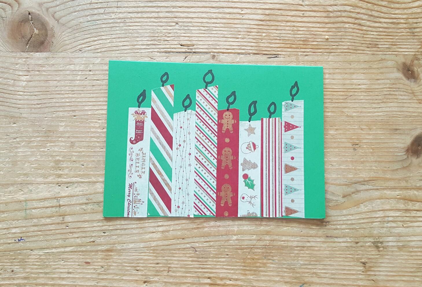 Kinderleichte Weihnachtskarten mit Kerzen als Motiv.