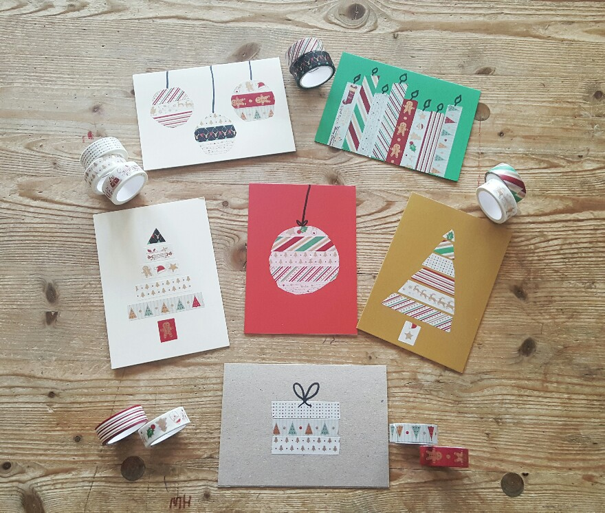 Weihnachtskarten Washi Tape für richtig schöne Klappkarten